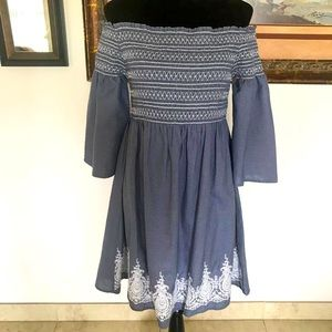 Off the shoulder boho look dress with embroidery